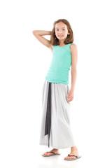 Cheerful girl in gray long skirt