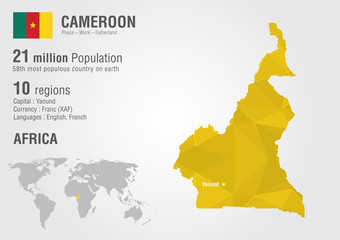 Cameroon world map with a pixel diamond texture.