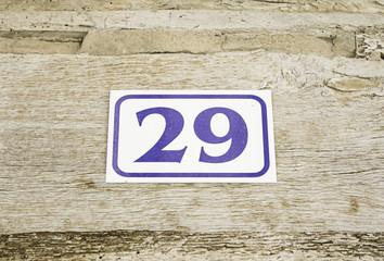 Number twenty-nine