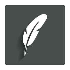 Feather sign icon. Retro pen symbol.