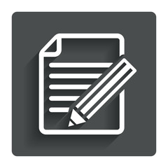 Edit document sign icon. Edit content button.