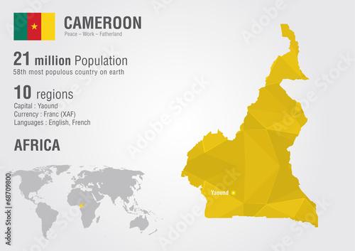 Cameroon world map with a pixel diamond texture.   Buy Photos   AP ...