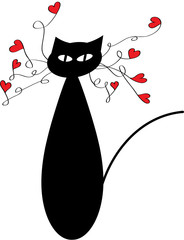 cartoon vector cat with hearts