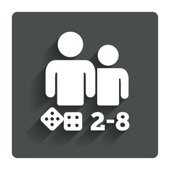 Board games sign icon. 2-8 players symbol.