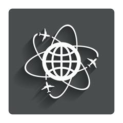 Globe sign icon. World logistics symbol.