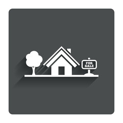 Home sign icon. House for sale. Broker symbol.