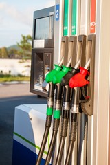 Fuel pumps at petrol station