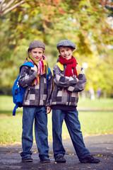 Twin schoolkids