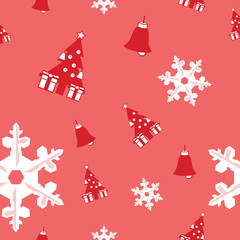seamless background of Christmas tree, bell and snowflake vector