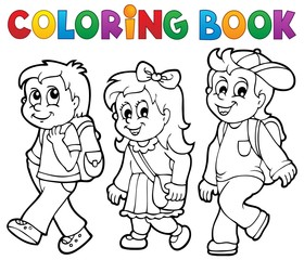 Coloring book school kids theme 2
