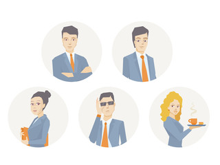 Vector illustration of a portrait of a business team of young bu