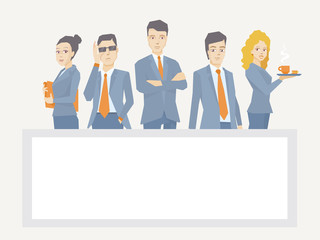 Vector illustration of a business team of young businesspeople s