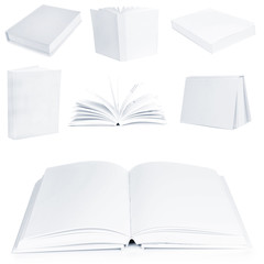 Collage of white empty books