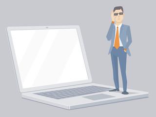 Vector illustration of portrait of miniature analyst man in a ja