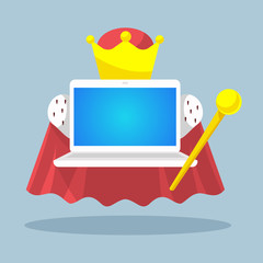 vector illustration laptop emperor with a scepter and a crown on