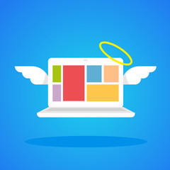 vector illustration laptop angel with wings and a halo on a blue