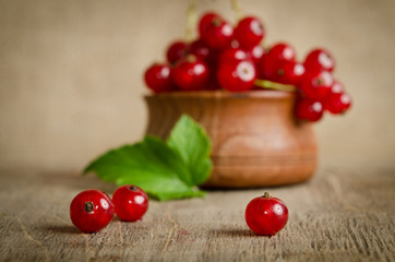 Red currant in wooden plate on the table