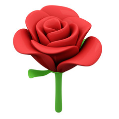 Red rose flower, 3d illustration