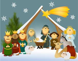 Cartoon nativity scene with holy family