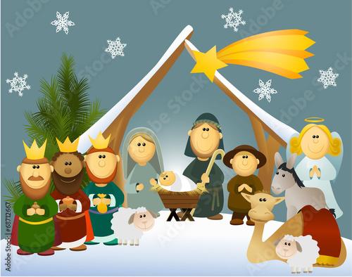 Cartoon nativity scene with holy family - 68712667