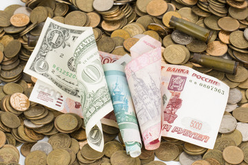 Russian, USA and Ukrainian money.