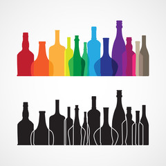 Vector colorful wine and whiskey bottle