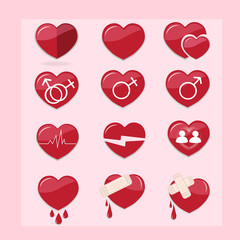 12 set of red hearts icons