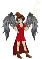 hübsche Hexe mit Flügeln