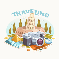Traveling. Vector illustration.