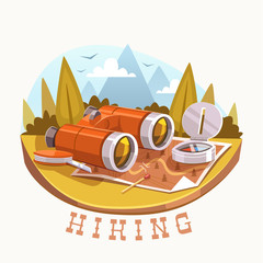 Hiking. Vector illustration.