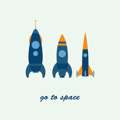 rocket go to space, vector illustration