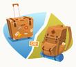 Luggage. Backpack. Vector illustration.