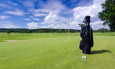 Golf bag on a Swedish golf field