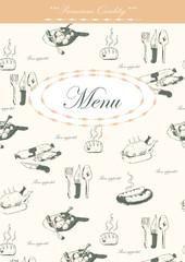 Menu with hand-drawn food pattern
