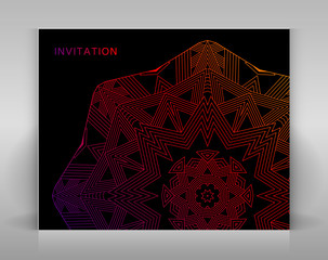 Black invitation with geometric decoration.