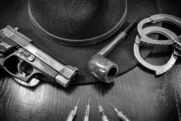 against drugs, wives pistol semiautomatic hat and pipe