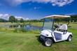 Golf car near the water pond - 68714606