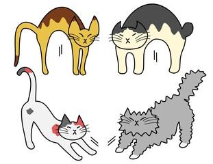 伸びをする猫たち