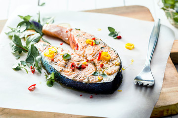 Cutlet of grilled gourmet salmon