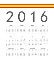 Simple spainish 2016 year vector calendar