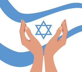 Hands and flag with Magen David, for an Independance Day