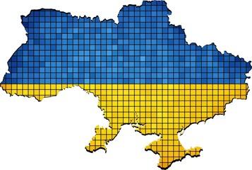 Ukraine map grunge mosaic