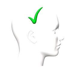 Kopf mit Haken grün weiss