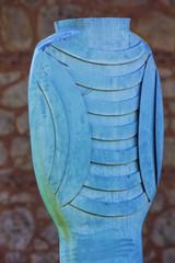 blue bronze abstract sculpture