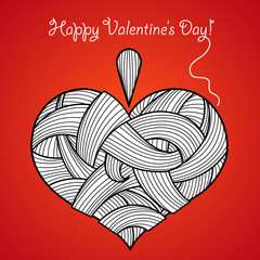 Happy Valentine's Day card with knitted heart