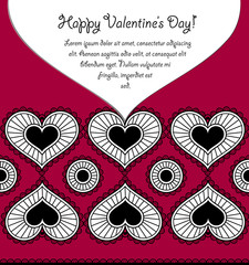 Happy Valentine's day card with lace hearts