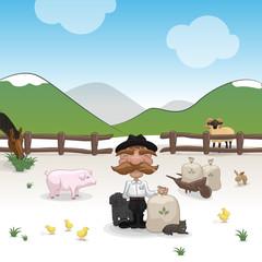 Farm with farmer and animals