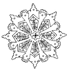 Hand-drawn sketch of a snowflake for design
