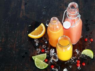 Preparing tasty healthy summer fruit juices