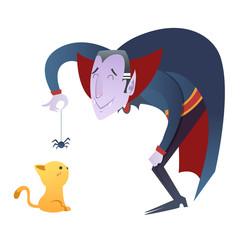 Cute cartoon Dracula vampire character